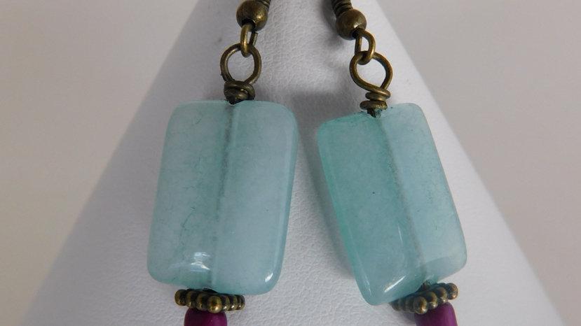Fluorite Gemstone Bead Earrings with Purple Bottom Bead
