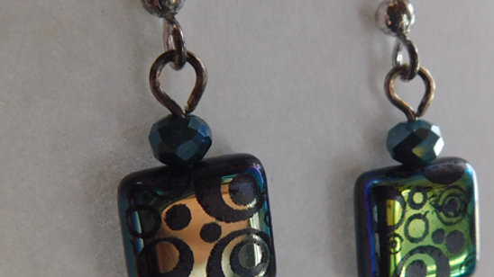 Purple/Green Iridescent Tiles & Teardrop Crystal Earrings