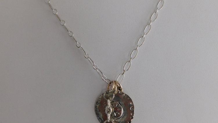 Silver Color Tri-Charm/ Sapphire Color Crystal Pendant