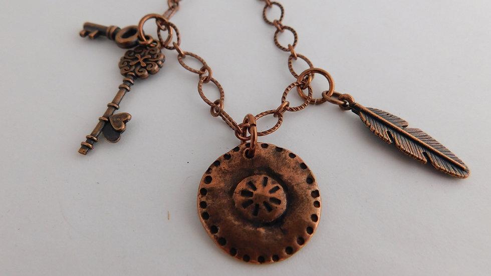 Copper Tri-Charm Pendant