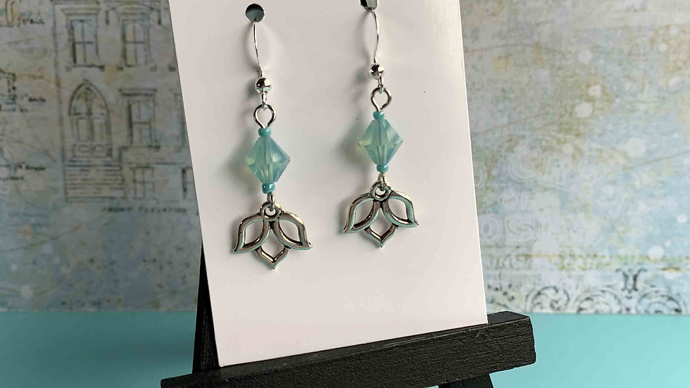 Ocean Mist Crystals & Lotus Charm Earrings