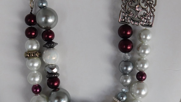 Double Stranded Pearl Color Bead Necklace