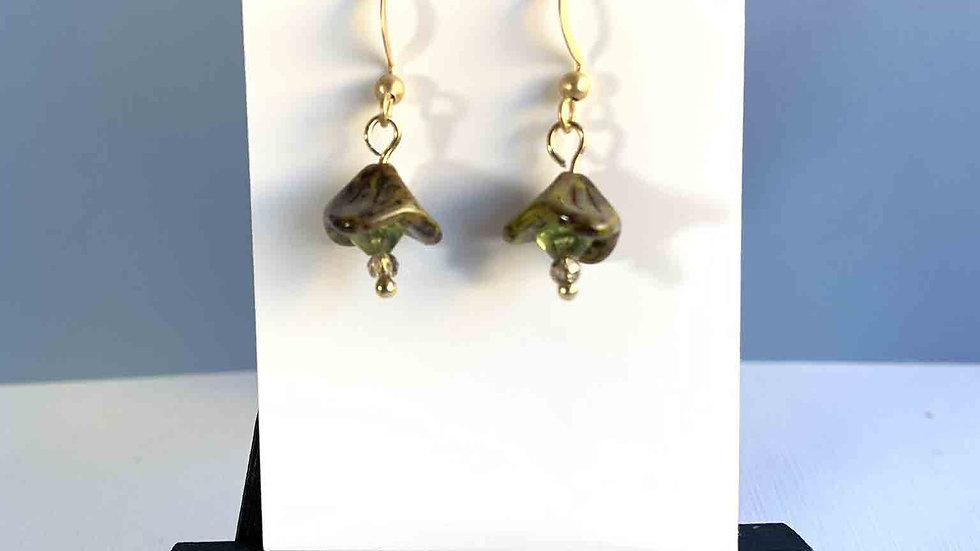 Green Ceramic Floral Earrings