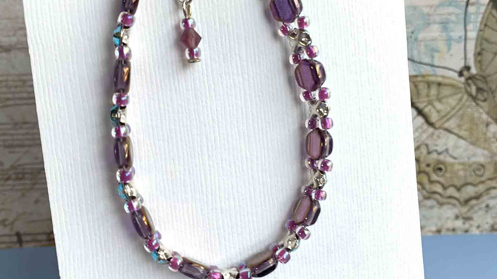 Purple Honeycomb, Raspberry & Blue Crystals Bracelet