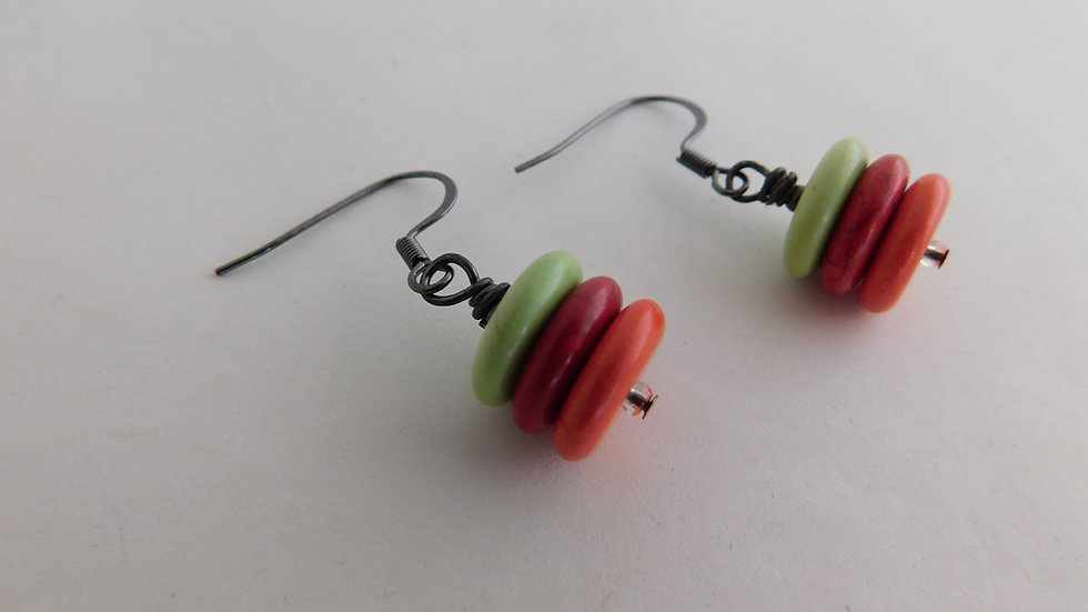 Lime, Red & Orange Stacked Disc Bead Earrings