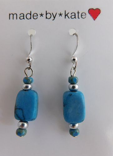 Aqua Stone & Silver Bead Earrings