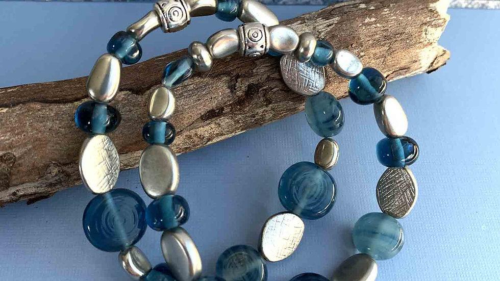 Blue & Silver Czech Glass, Set of Two, Stretch Bracelets
