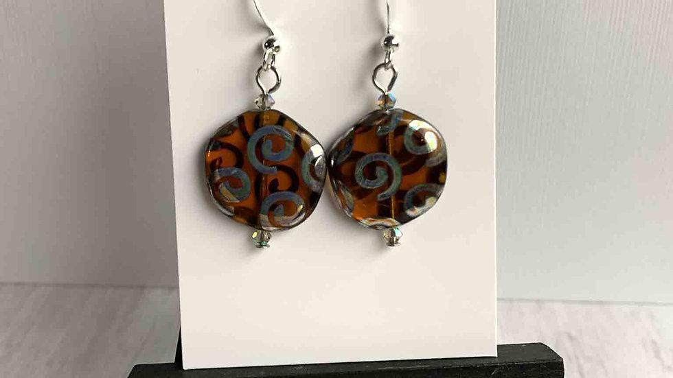 Amber/Silver Artglass Disc Earrings