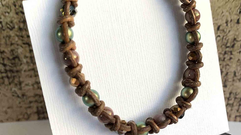Spanish Knot Pastel Bead & Leather Bracelet