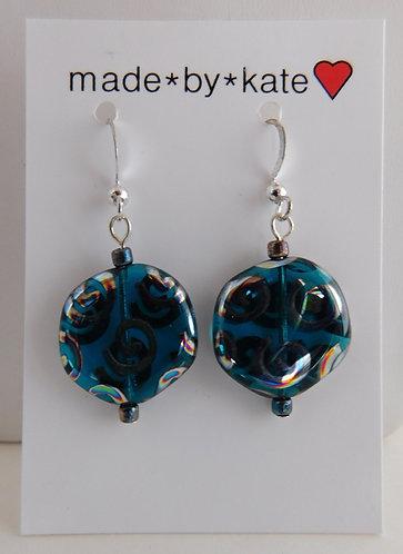 Aqua & Silver Spiral Artglass Disc Earrings