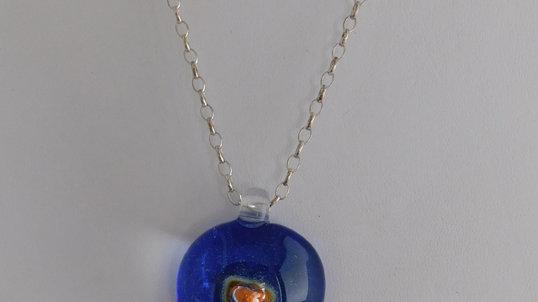 Indigo Artglass & Silver Color Pendant