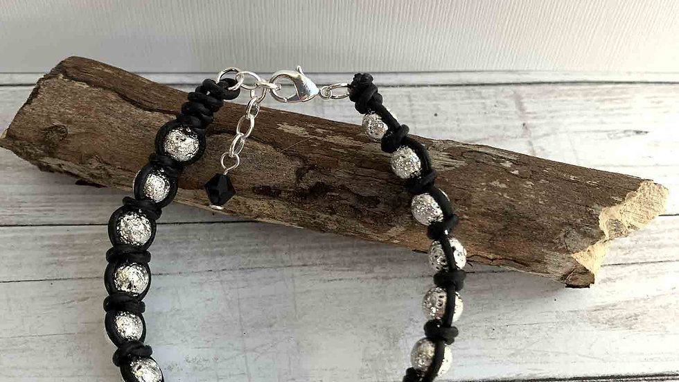 Spanish Knot Silver Lava & Leather Bracelet (Hers)