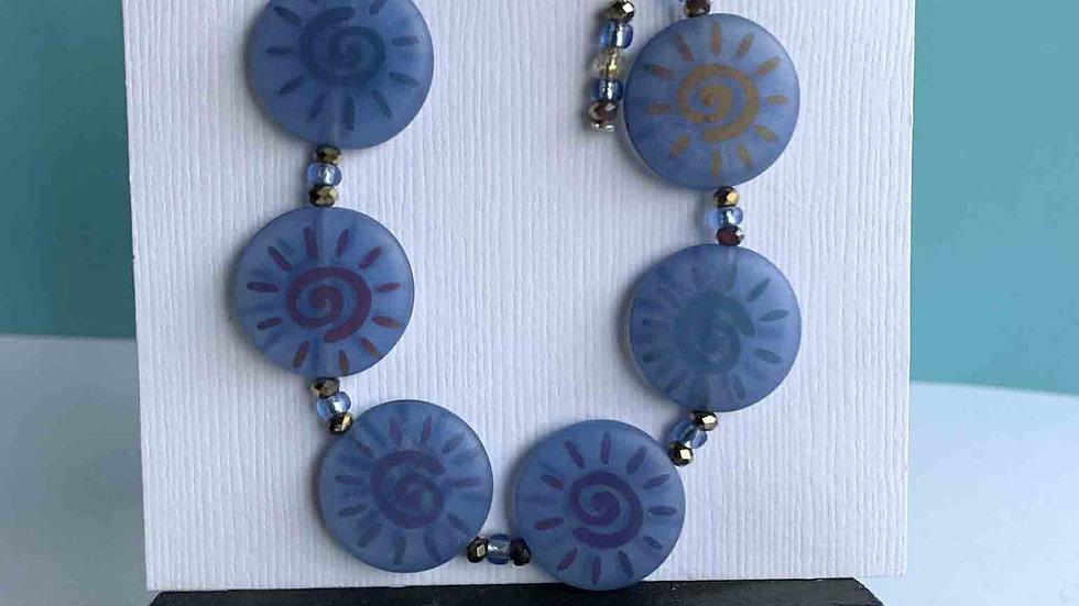 Purple Seaglass/ Sun Print Bracelet