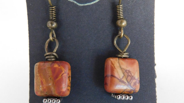 Arizona Red Jasper Bead Earrings