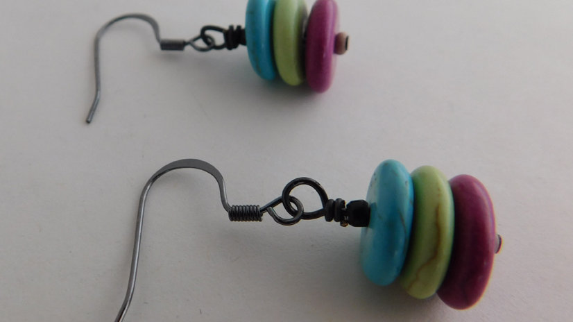 Teal, Lime & Purple Stacked Disc Bead Earrings