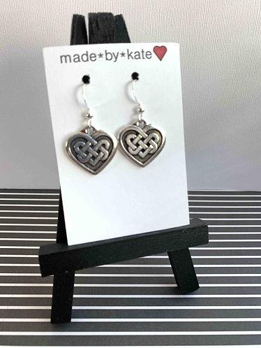 Celtic Hearts/ Silver Earrings
