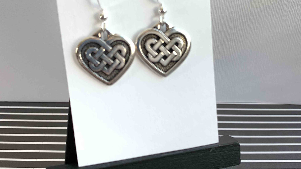 Celtic Hearts/ Silver Earrings