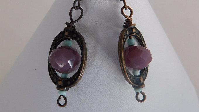Violet Bead / Copper Color Earrings