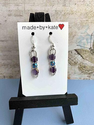 Purple Honeycomb, Raspberry & Blue Crystals Earrings