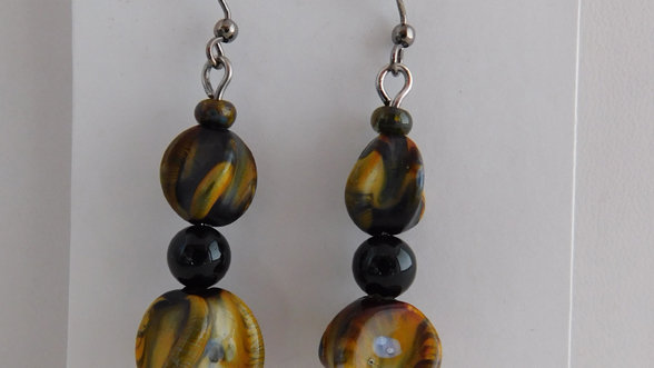 Green & Black Marbled Bead Earrings