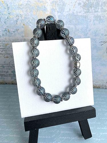 Purple & Crystals, Silver Tube Bracelet