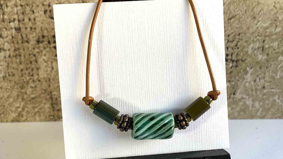 Green Ceramic & Copper, Leather Bracelet