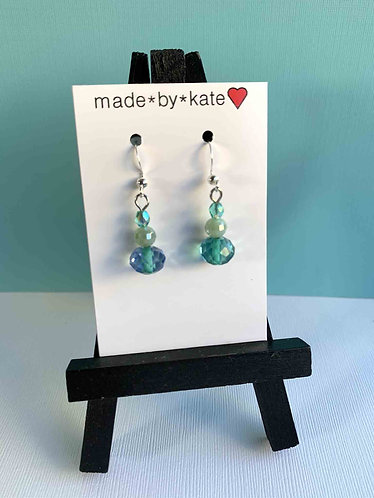 Aqua Crystal Tri-Stack Earrings
