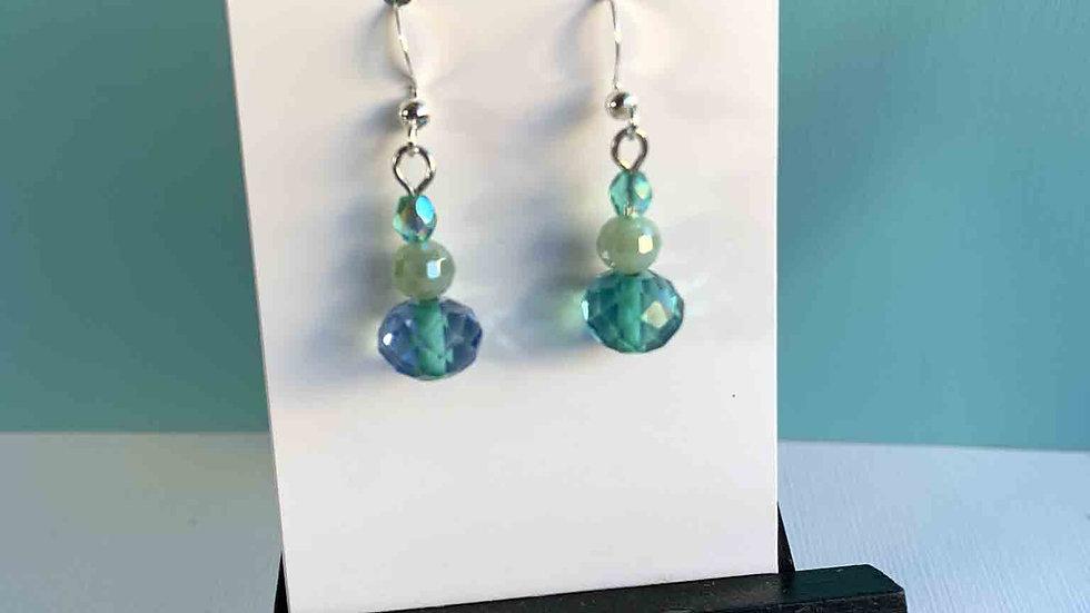 Aqua Crystal Tri-Stack Earrings