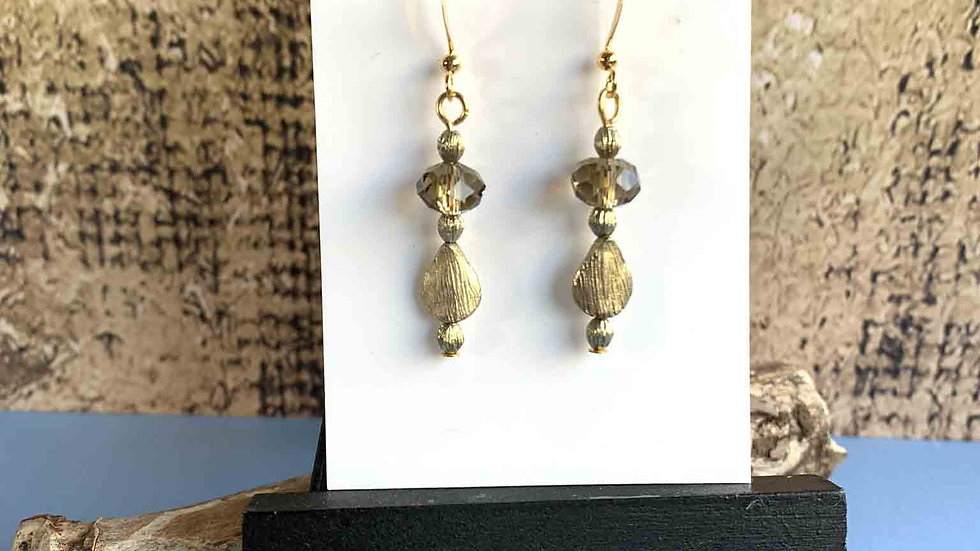 Smoky Crystal & Gold Teardrop Bead Earrings