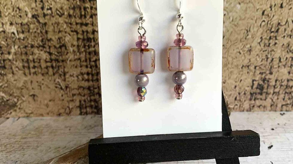Lavendar Czech Glass & Crystal Earrings