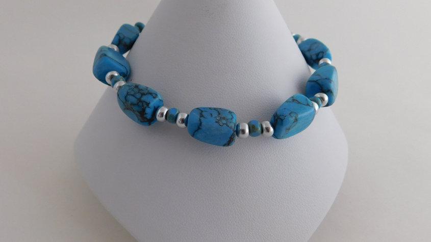 Aqua Stone & Silver Bead Bracelet