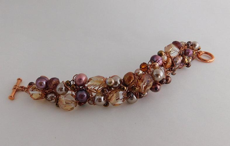 Copper Beaded Wire Bracelet