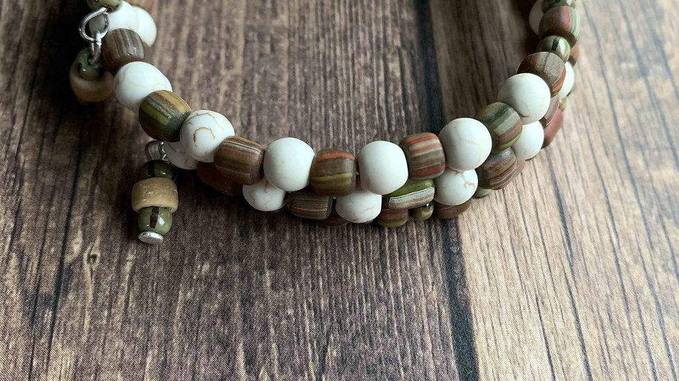 Cream & Stone Wrap Bracelet