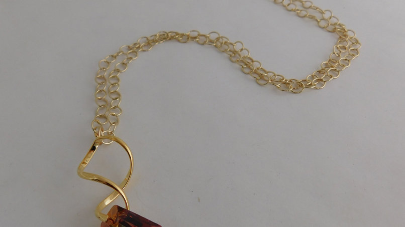 Large Topaz Crystal Pendant with Gold Color Spiral Bail