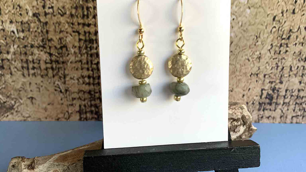 Gold Disc & Crystal Earrings