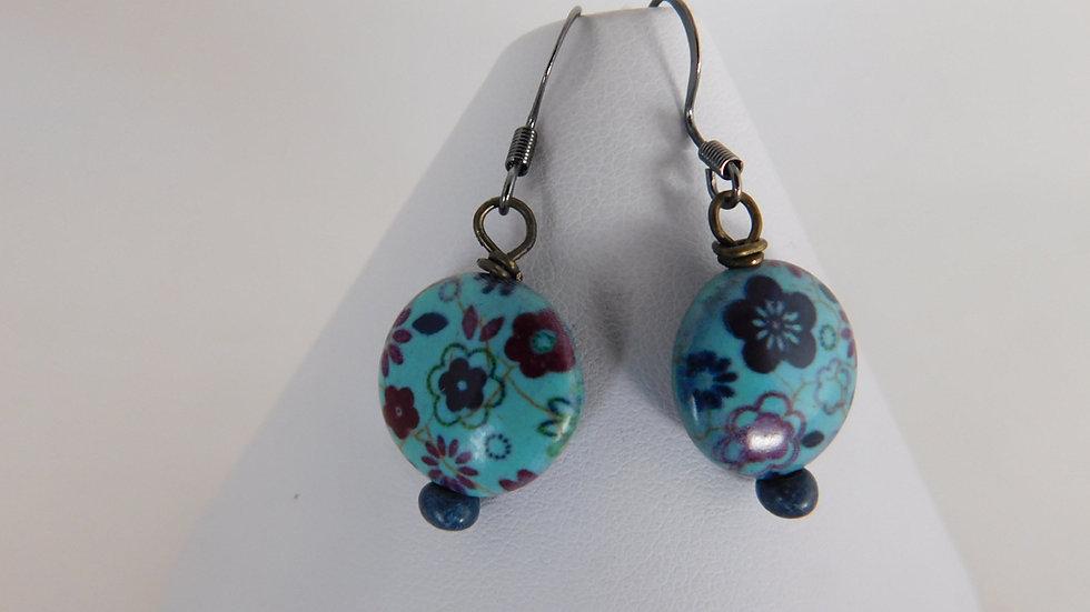 Teal Floral Bead Earrings