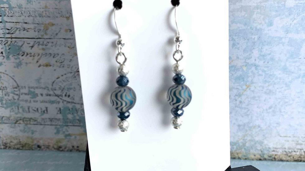 Blue Wave Glass Bead Earrings