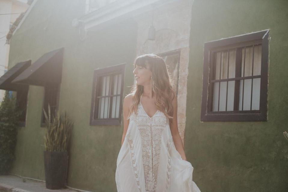 Custom boho bridal gown