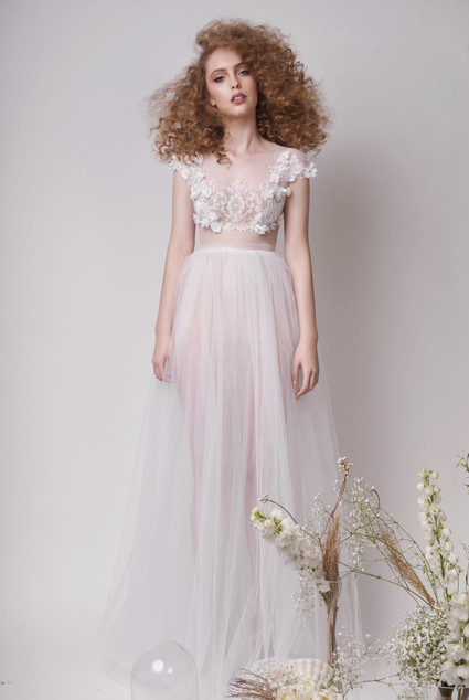 3D Floral Embellished Top with Maxi Tulle Wedding Skirt