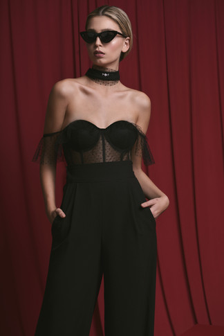 Off The Shoulder Corset and Wide Leg Tailored Pants with Pockets