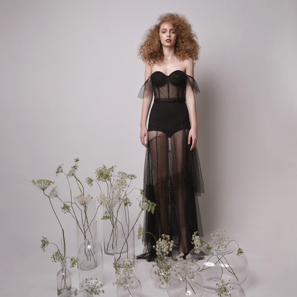 Sexy Off The Shoulder Bodysuit with Maxi Evening Skirt