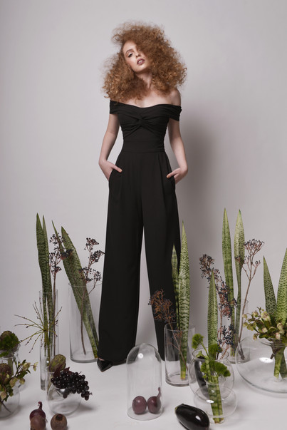Off The Shoulder Front Twist Black Top with Black Tailored Pants