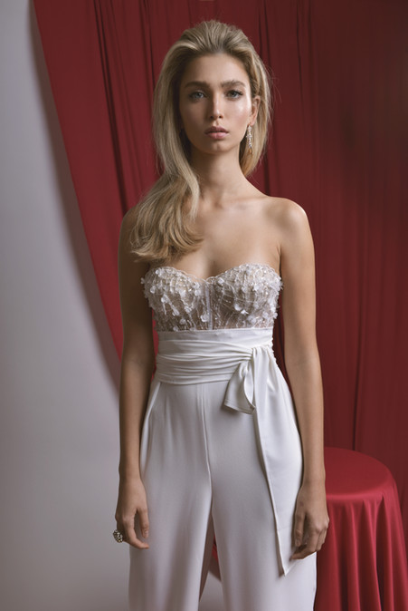 Strapless Embllieshed Corset With Wide Leg White Pants