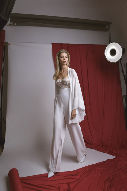 Strapless Embllieshed Corset with Wide Leg White Pants and White Kimono Women Top