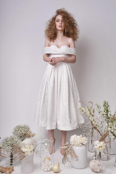 Off The Shoulder Princess Midi Wedding Skirt