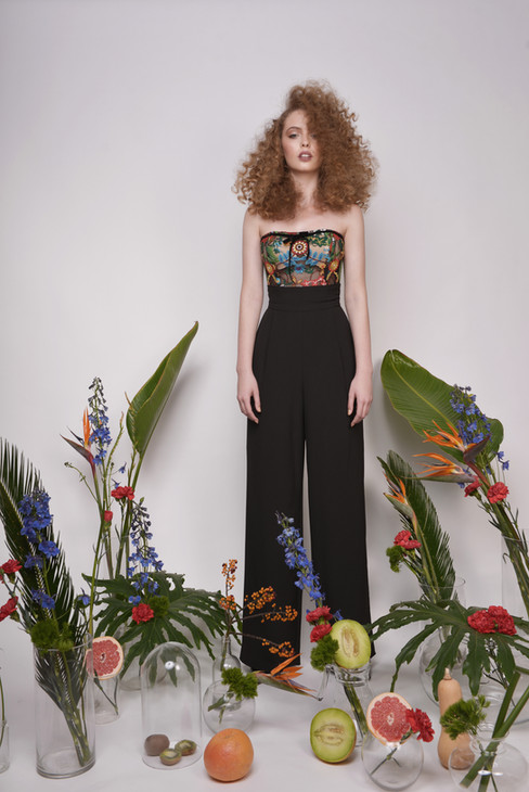 Evening Colorful Lace Corset with Long Tailored Pants