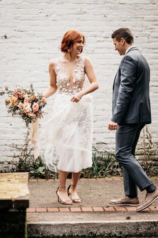"""White Bloom"" Midi Bridal Gown"