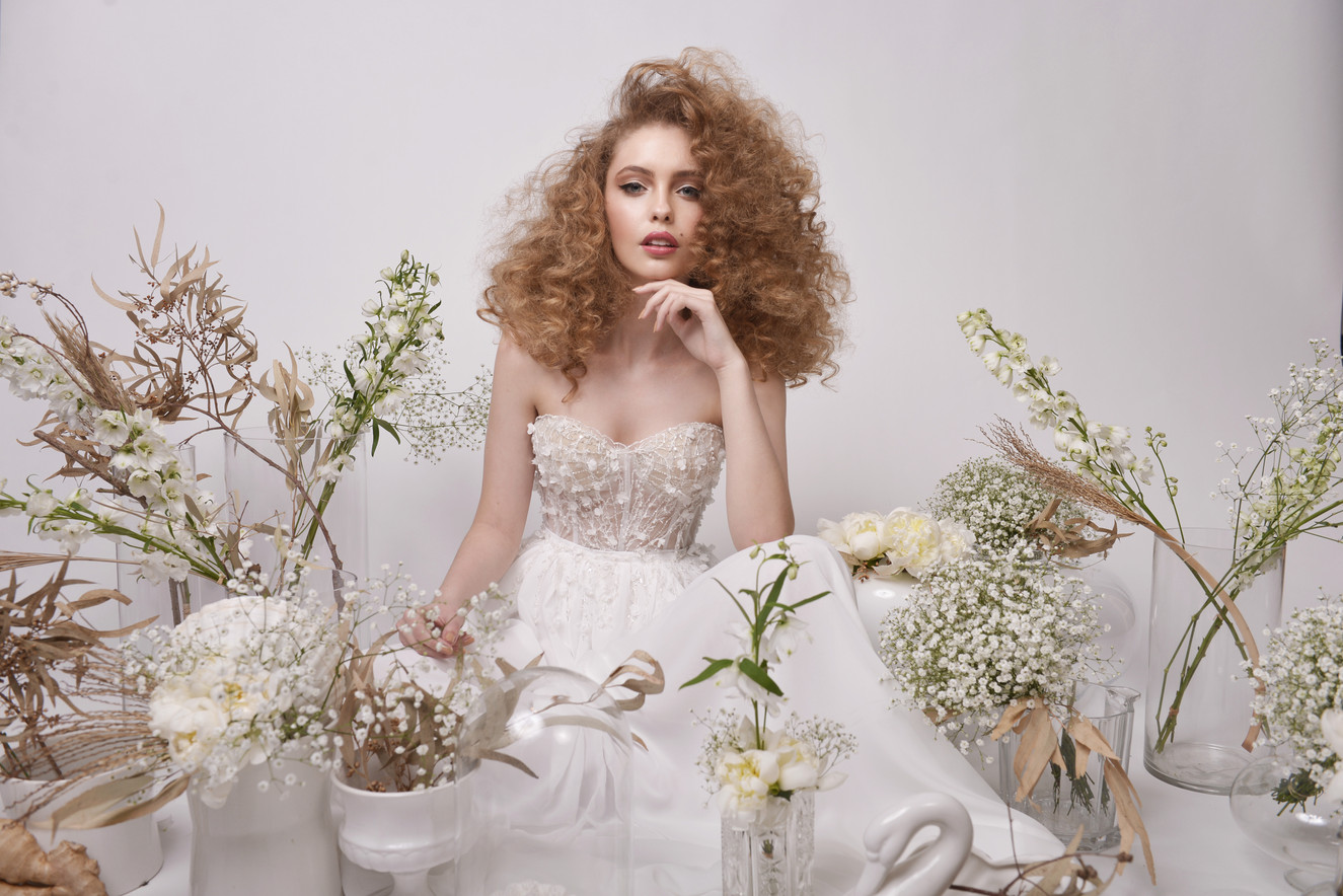 Romantic Strapless Embellished Wedding Dress with 3D Floral Embroidery
