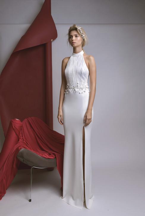 Collar White Wedding Dress with Slit