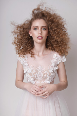 Hand Made 3D Floral Embellished Top with Maxi Tulle Wedding Skirt